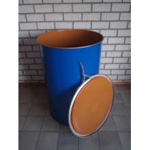 metalen vaten/tonnen 200 liter deksel en klem 88x59cm stalen.